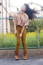 dark khaki riding pants American Apparel pants - burnt orange Forever 21 boots