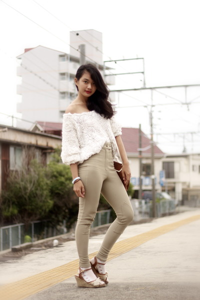 white flower mesh American Apparel jumper - dark khaki American Apparel pants