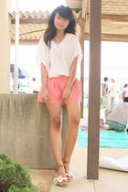 beige dress - pink shorts - brown shoes
