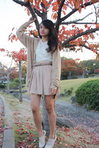 tan American Apparel skirt - beige shoes - cream American Apparel dress