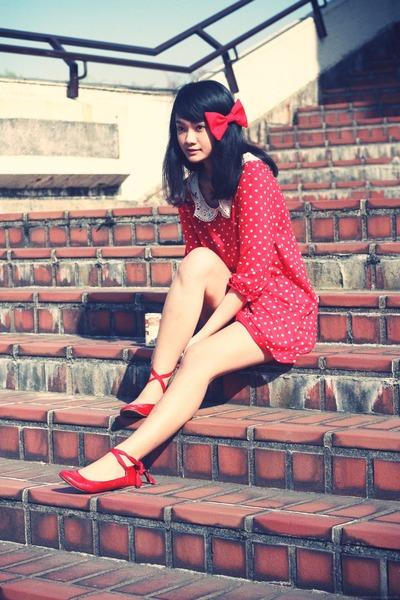 red Zara flats - white from japan dress