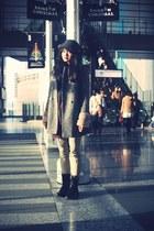 charcoal gray Topshop coat - gray Uniqlo hat - crimson Cinema Club scarf