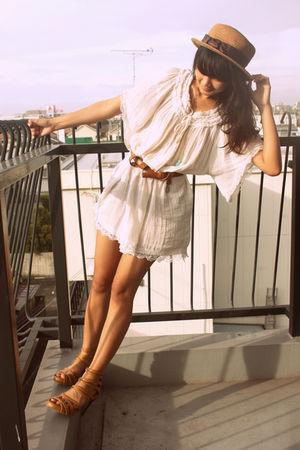 white dress - brown hat - brown belt - brown shoes