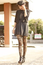black wholesale-dressnet tights - black SM boots - black Club Couture dress