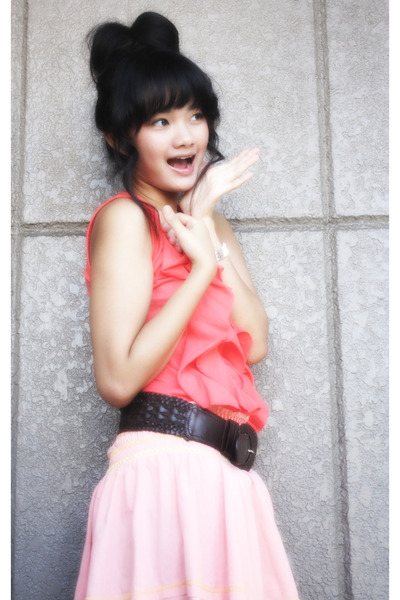 pink httpwwwsohautecc dress - pink skirt - brown Mango belt