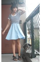blue shirt - blue Pearlavish dress - black shoes