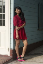 hot pink Cinema Club pumps - red chiffon American Apparel skirt - maroon blouse