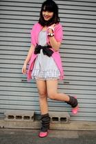 gray dress - pink accessories - black accessories - pink Cinema Club shoes - gra