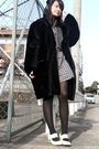 Black-coat-gray-uniqlo-dress-gray-vest-black-tights-white-shoes