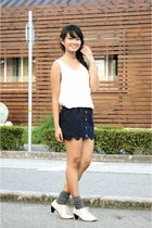 white scarletroom top - blue httpdresscodeshopcom skirt - gray socks - beige sho