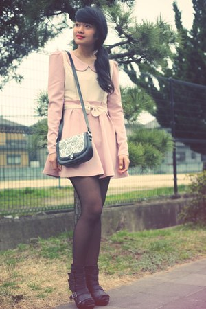 light pink dress - black boots - black tights