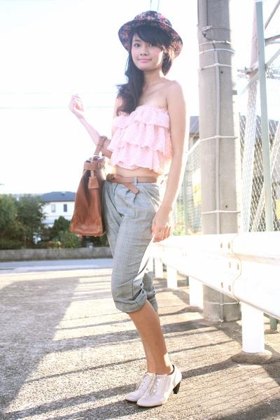 pink hat - pink top - gray mvsclosetblogspotcom pants - beige shoes - brown belt