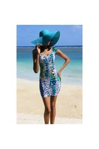 teal H&M dress - turquoise blue Fine Accessories INC hat