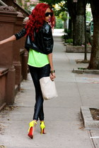 black leather BCBG jacket - leggings - dip neon green Topshop blouse