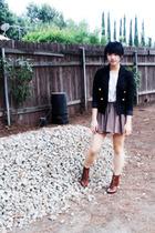 H&M blazer - Goodwill blouse - forever 21 skirt - H&M boots