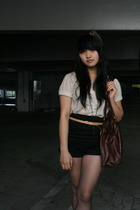 white sheer blouse - black high waisted Urban Outfitters shorts