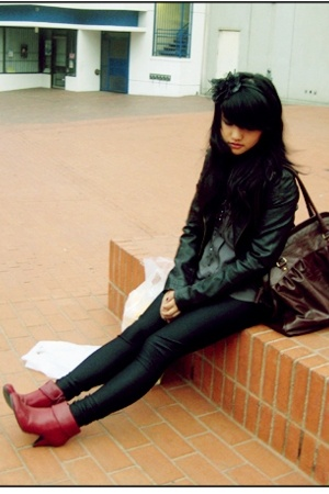payless boots - Urban Outfitters jacket - aa - Goodwill blouse - H&M purse