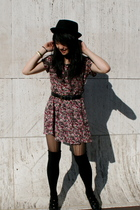 black UO hat - black Goodwilll shoes - red floral Goodwill dress