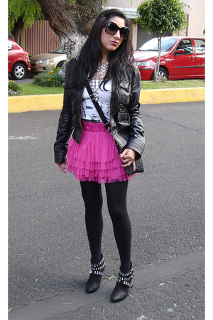 black Zara jacket - white H&M t-shirt - pink H&M skirt - black Zara boots - silv