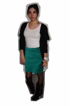 black H&M sweater - green H&M skirt - black Modekungen boots