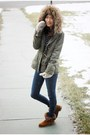Brown-forever-21-boots-navy-skinny-h-m-jeans