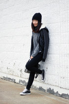 black leather Converse shoes - black H&M hat - black Forever 21 jacket