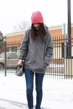 hot pink beanie Canvas June hat - navy H&M jeans - black kate spade bag