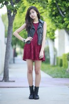 black Forever 21 vest - brick red Forever 21 dress - gold Oasapcom ring