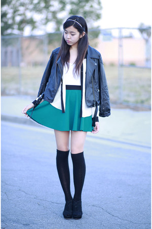ivory Forever 21 shirt - black thrifted jacket - green Forever 21 skirt