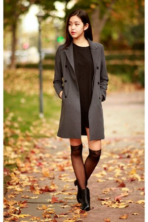black OKDGG dress - charcoal gray OKDGG coat - black OASAP tights