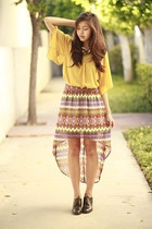 brick red Forever 21 skirt - brown vintage shoes - mustard Forever 21 top