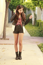 black H&M jacket - white Forever 21 shirt - black H&M shorts