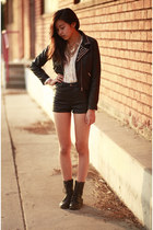 black H&M jacket - black H&M shorts - white Sway top