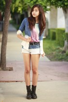 blue H&M shirt - navy H&M shirt - blue Forever 21 shorts