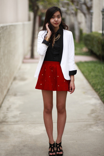 ruby red star studded OASAP skirt - cream bar coat - black H&M shirt