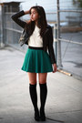 Black-h-m-jacket-ivory-forever-21-sweater-dark-green-forever-21-skirt