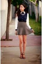 blue OASAP blouse - black Front Row Shop skirt
