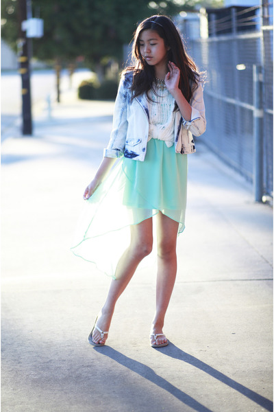 sky blue bar coat - aquamarine Forever 21 dress