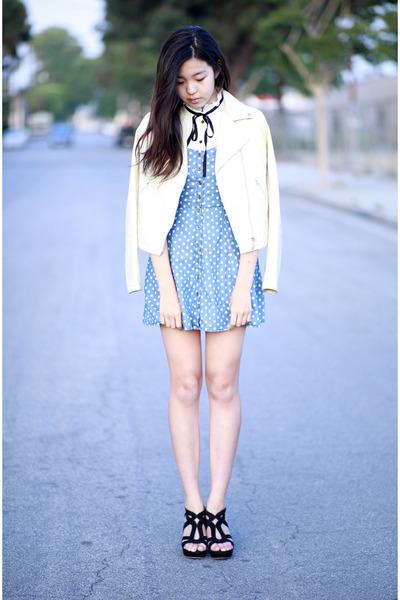 sky blue Forever 21 dress - white Uniqlo jacket - ivory Ebay top