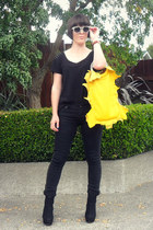black Just jeans jeans - yellow Kate Zeus bag - black Number One Shoes wedges