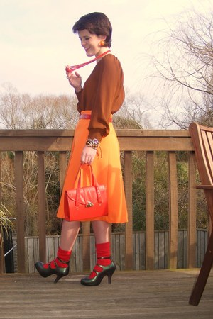 red unknown brand socks - dark brown Glassons blouse - carrot orange thrifted vi