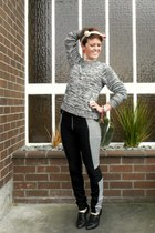 heather gray Hallensteins sweater - black custom made pants - black Pulp flats