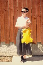yellow Kate Zeus bag - navy thrifted skirt - white Glassons t-shirt