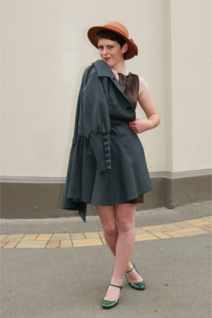 brown thrifted dress - gray thrifted coat - tawny unknown brand hat - green thri