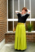 black Secondhand sweater - white thrifted blouse - chartreuse Secondhand skirt