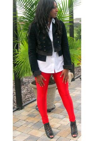 red American Apparel pants - white JCrew shirt - blue Ralph Lauren jacket