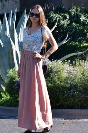 light pink Ark & Co skirt - white lace zinke dress - black Zara heels