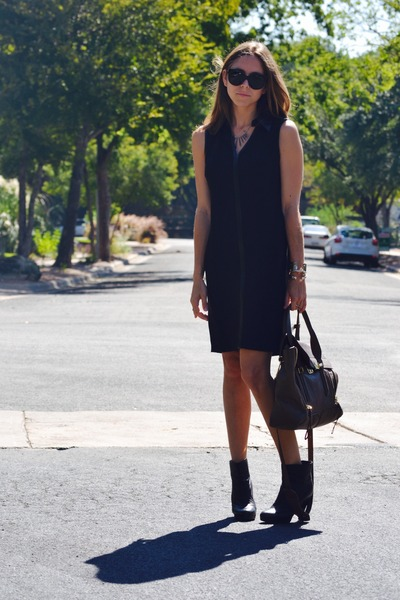 black Chanel boots - black Nine West dress