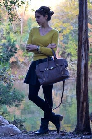 chartreuse Lord & Taylor sweater - black TJ Maxx skirt