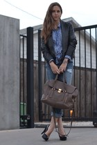 black leather vince jacket - blue plaid Gap shirt